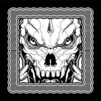 crâne de démon noir et blanc dans le cadre