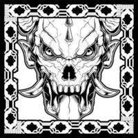 crânes de démon avec cornes et langue