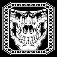 crâne avec des yeux dans le cadre du cercle