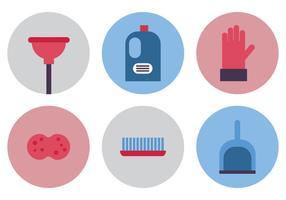 Icônes planes de nettoyage de printemps vecteur