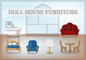Vecteur gratuit de meubles de maison de poupée
