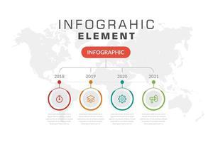 chronologie infographique avec 4 icônes colorées en cercles