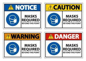 masques requis au-delà de ce point signes vecteur