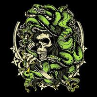crâne de méduse avec des serpents et un poignard