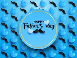 conception de fête des pères bleue avec coeurs et moustaches vecteur