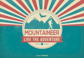 Illustration d'alpiniste de style rétro