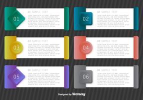 Modèles de progression de papier vectoriel bannières étape