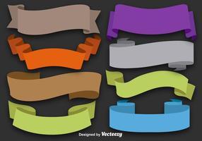 Ensemble de 8 rubans plats colorés vecteur