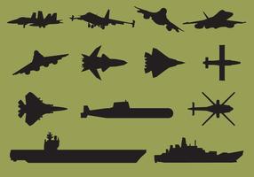Silhouettes de porte-avions vecteur