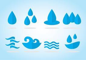 Eau, icônes bleues vecteur