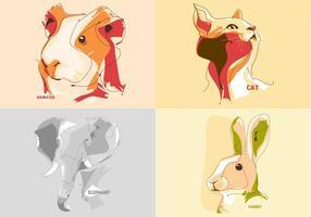Vecteurs de portrait d'animaux vecteur