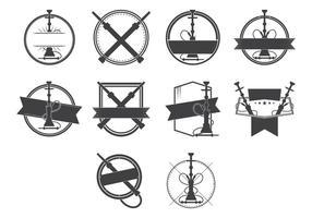 Vignette vintage nargile et hookah badge logo vecteur