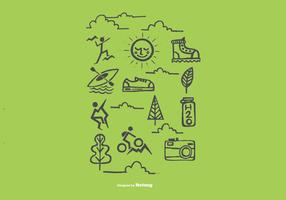 Vecteurs d'icônes de loisirs extérieurs dessinés à la main vecteur