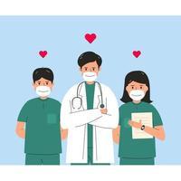 concept de médecin et infirmière de caractère de soins de santé vecteur