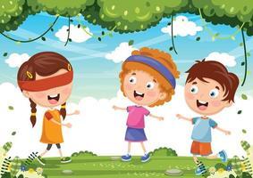 enfants, jouer, aveugle, bluff