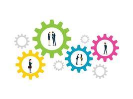 conception d'engrenage montrant le processus de travail de l'entreprise