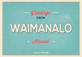 Waimanalo hawaii retro greeting illustration