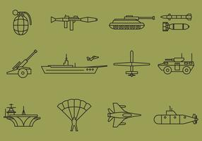Icônes de ligne de guerre vectorielle vecteur