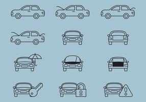Icônes de ligne de service de voiture vecteur