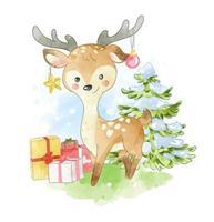 cerf avec des cadeaux et des ornements sur les bois