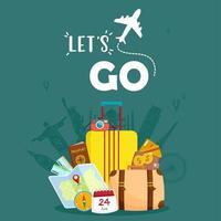 équipement de voyage essentiel conception de vacances et de tourisme vecteur
