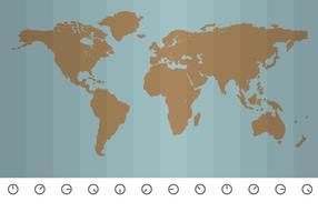 Carte vectorielle de l'heure exacte autour du monde