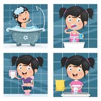 jeu de routine fille bain et matin vecteur