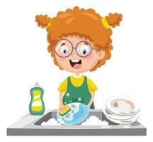 enfant, laver la vaisselle vecteur