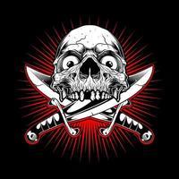 emblème de visage de crâne avec des couteaux croisés sur éclat rouge