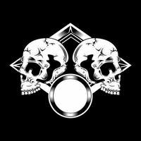 deux crânes en diamant avec cadre en cercle