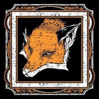 Tête de renard de style grunge dans un cadre carré orné
