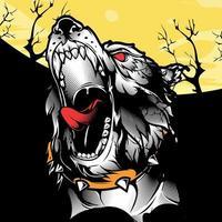 Tête de loup rugissant sur paysage noir et jaune
