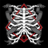 cage thoracique et bannières entrelacées dans l'emblème du diamant