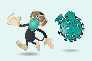 dessin animé singe portant un masque chirurgical et s'échappe Covid-19