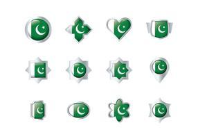 Des vecteurs d'insignes de drapeau pakistanais gratuits