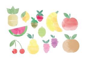 Éléments de fruits d'aquarelle vectorielle