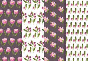 Ensemble de motifs de fleurs et de fleurs roses vecteur