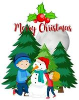 enfants, bâtiment, bonhomme de neige, dans, arbres