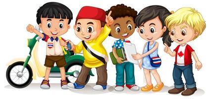 enfants heureux dans des poses différentes vecteur