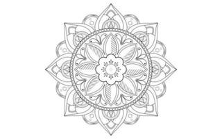 mandala ligne fleur en noir et blanc vecteur