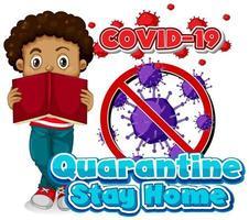 «quarantaine reste à la maison» avec un garçon lisant un livre vecteur