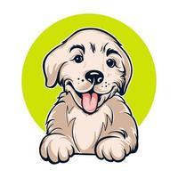 portrait de chien dessin animé mignon vecteur