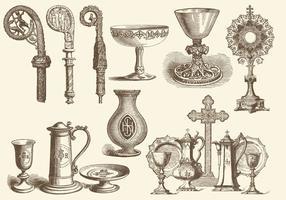 Eucharistie et objets liturgiques vecteur