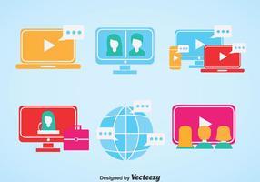 Icônes plates Webinar vecteur
