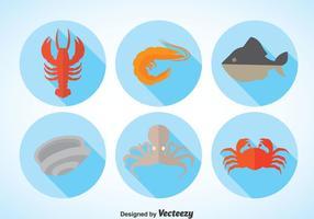 Vecteur d'ombre longue de fruits de mer