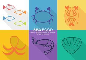 Icônes de vecteur de nourriture de mer