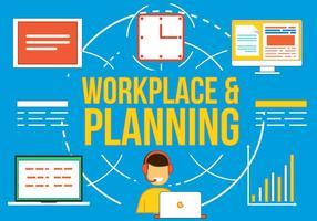 Milieu de travail gratuit et planification Vetor vecteur