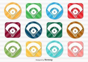 Ensemble vectoriel de boutons d'icônes de terrain de baseball