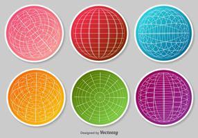 Ensemble d'autocollants vectoriels Grille Globe