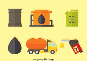 Icônes plates de pétrole et d'essence